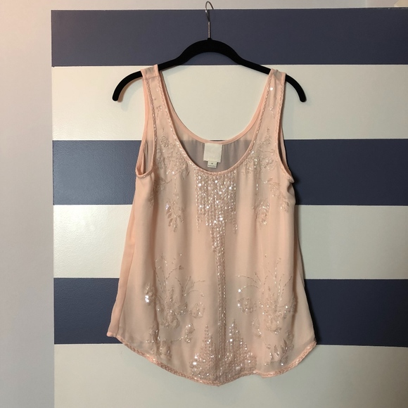 Pale Pink Beaded Sequined Tank Top Blouse